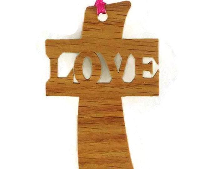 Love Cross Christmas Ornament Handmade From Oak or Walnut Wood