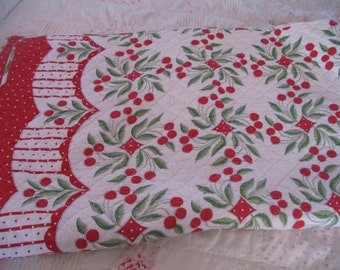 Vintage 1950's Quilt, Red Cherry Pattern, Large