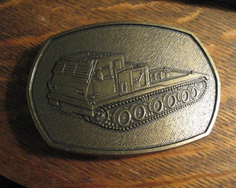 Continuous Track Truck Belt Buckle - Vintage Bulldozer Tank Vehicle Earth Mover