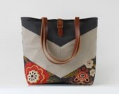 OATMEAL chevron, gray blossom tote / diaper bag / shoulder bag.  9 inside pockets. Waterproof poly lining available