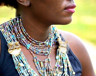 African Blue Masai Beaded Necklace,Multi-Stranded Sea Blue Masai necklace,Elegant Afrocentric Statement Necklace