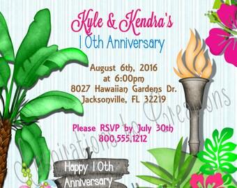 DIGITAL Hawaiian Luau Anniversary Invitation