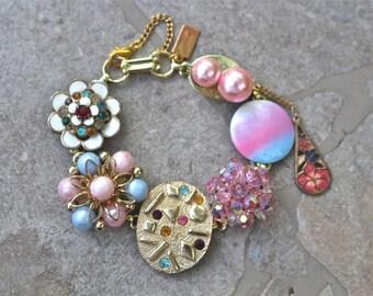 Bridesmaid Gift, Vintage Earring Bracelet, Upcycled, Gold, White, Enamel Flower, Pastel, Boho, Jennifer Jones, Under 40, OOAK - Spring Fling