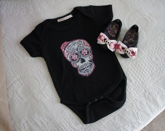 Olivia Paige - Rockabilly baby punk rock sugar skull skeleton outfit bodysuit with shoes studded