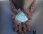 Chocolate brown Statement BIB Necklace LEAVES with Chrysocolla semiprecious stone and a touch of turquoise, handmade by ARUMIdesign