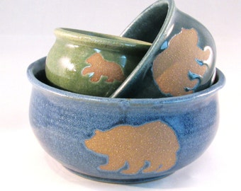 Nesting Stack Bowl Set - Papa, Mama and Baby Bear Silhouette - Blue, Variegated Teal and Bright Green - Handmade Pottery