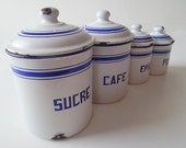 4 French Vintage Enamelware Canisters Complete Set with Lids Blue and White