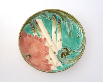 French Vintage Majolica Asparagus Plate from Luneville