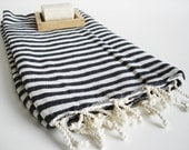 NEW / SALE 50 OFF/ BathStyle / Black Striped / Turkish Beach Bath Towel / Wedding Gift, Spa, Swim, Pool Towels and Pareo