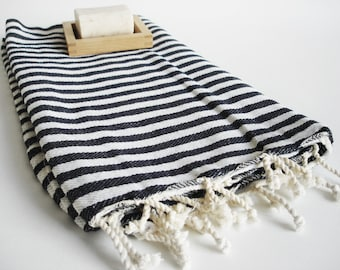 NEW / SALE 50 OFF/ BathStyle / Black Striped / Turkish Beach Bath Towel / Wedding Gift, Spa, Swim, Pool Towels and Pareo