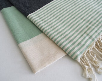 SALE 30 OFF/ Turkish Beach Bath Towel / Classic Peshtemal / Green Black / Wedding Gift, Spa, Swim, Pool Towels and Pareo