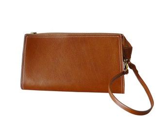 Tusk Cognac Italian Leather Convertible Wristlet Clutch Handbag