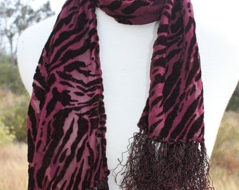 Silk Velvet Scarf in Soft Black