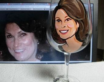 Portrait Wine Glasses Cartoon Caricature Hand Painted Caricature Personalized Glasses