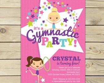 Gymnastics Birthday Invitation Printable - Gymnastics Birthday Party Invitations - Gymnastics Invitation - Gymnastics Party - Birthday