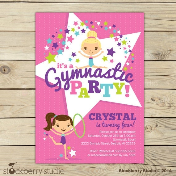 Gymnastics Birthday Invitation Printable Gymnastics Birthday Party