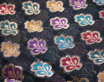 Black and Colorful Flowers - 1 yard of Cotton Silk Brocade Fabric in Black, gold and rainbow colors