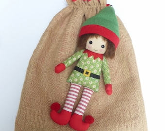 Christmas elf, elf doll, cloth elf, Christmas decor elf