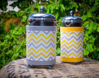"French Press ""Bean Belt"" Coffee Cozy - ""Mini Chic Chevron"" White, Gray Yellow, Citron"