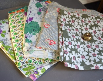 Vintage Fabric Lot Vintage Sewing Blue Mid Century Vintage Cloth Green Pink Grey Gray Purple Floral Flowers Retro Quilt Fabric Cotton Pieces