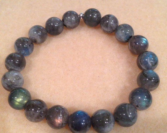 Labradorite 10mm Round Bead Stretch Bead Bracelet with Sterling Silver Accent