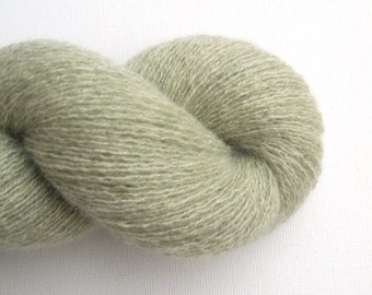 Lace Weight Recycled Cashmere Yarn, Light Sage Green, Lot 060416