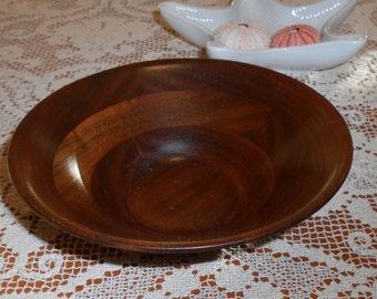 Small Vintage Hand Carved Walnut Art Bowl - Signed Armand - La - Fosse Santa Cruz CA
