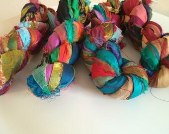 Recycled sari silk ribbon, 100g, rich quality premium silk sari ribbon in multicoloured tones. Unique vibrant sari silk art yarn.