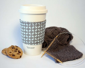 Coffee Cozy, Cup Cozy, Tea Cozy, Light Blue and Brown Reversible & Reusable Coffee Cup Sleeve, Stocking Stuffer, Bridesmaid Gift, For Her