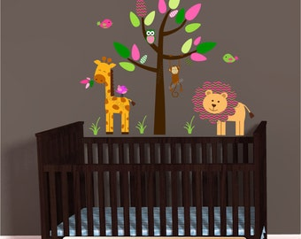 Pink Mini Jungle Animal Decals, Giraffe Lion Decal Sticker, Nursery Decal, Monkey wall decal, Girl Green Chevron, polka dots, Brown Tree