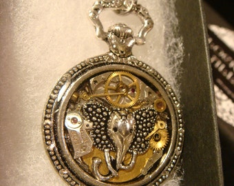 Clockwork Elephant Steampunk Pocket Watch Pendant Necklace -Made with Real Watch Parts (2184)