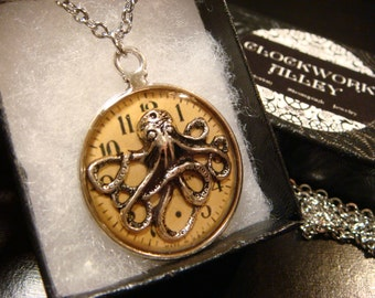 Silver Octopus with Clock  Steampunk Pendant Necklace (1917)