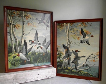 Paint By Number Ducks In Flight , Two 16 x 20 Vintage PBN Oil Paintings Framed , Mallard and Pintail Ducks in Flight , Autumn Cabin Decor