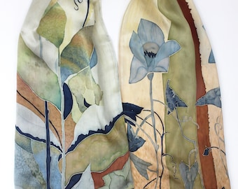 Autumn Saga About Flowers Silk Scarf Han Painted Designer Silk Accessory Fall Gift
