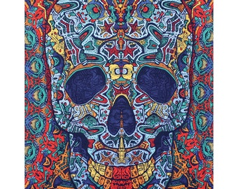 3D Skull Psychedelic Tapestry Tablecloth Goth Beach Sheet Wall Art Huge 60x90 Inches