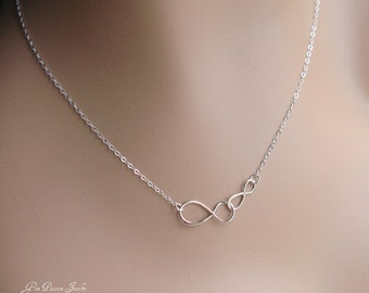 Double Infinity Necklace, Silver Infinity, Couple Necklace, Mother Daughter, Sisters, Anniversary, Mother Necklace, Bridesmaids
