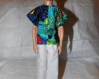 Resort wear fish print shirt & white pants for Male Fashion Dolls - kdc74