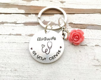 Hand Stamped MIDWIFE at your cervix service Doula Ob/Gyn obgyn facog new mom gift midwife gift birth team gift stethoscope heart footprints