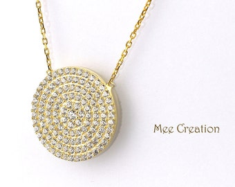 NE301001YG) Yellow Gold Plated 925 Sterling Silver CZ Circle Disc Necklace
