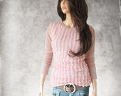 Mesh ruffle shirt/Pastel pink peach/Women crew neck/Half sleeve