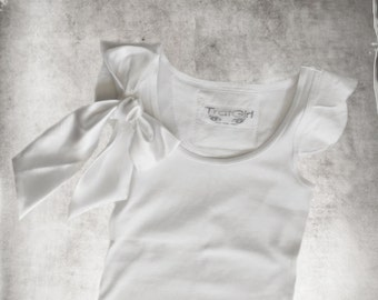 White women top/Removable snap bow/Short scallop sleeve