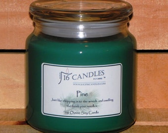 Pine Candle ~ 16 Ounce Jar ~ Scented Soy Candle ~ Woodsy Fragrance ~ 16 Candles by J.P. Lawrence