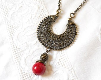 red bohemian necklace pendant necklace boho necklace boho jewelry red jade necklace red jewelry bronze pendant necklace red bohemian   M
