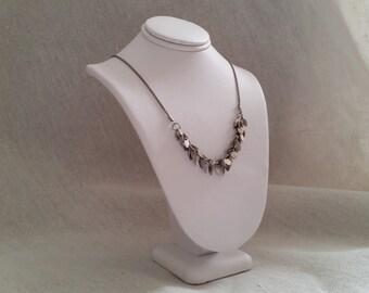 Vintage silver necklace leaf design