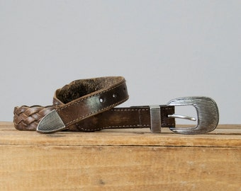 """1980s Vintage Braided Distressed Brown Leather Belt with Silver Stripe Buckle (36""""-39.5"""")"""