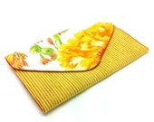 Yellow Flower Envelope Clutch Coin Purse Wallet Gift for Women Cotton Striped Orange Chintz Bag Magnetic Snap