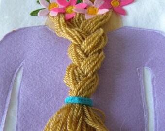 Hair Design- Quiet Book Page / Hair Styling- Quiet Book / Hair Braiding- Quiet Activity Book / Birthday Gift For Toddler / Childrens Book /