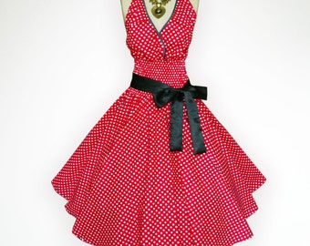Retro Red & White Polka Dot 50s Pin up Rockabilly Swing Dress Full Swing Skirt