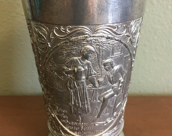 Vintage Large German Pewter Beer Cup