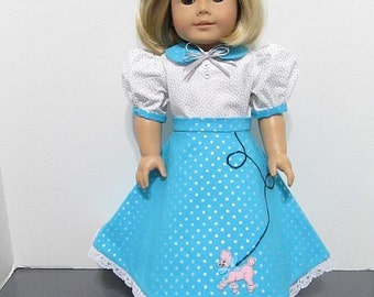 American Girl Or 18 Inch Doll 3 Pc Teal And White Poodle Skirt Set